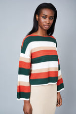 Yasmin  Multi Stripe Crochet Knitted Boxy Top