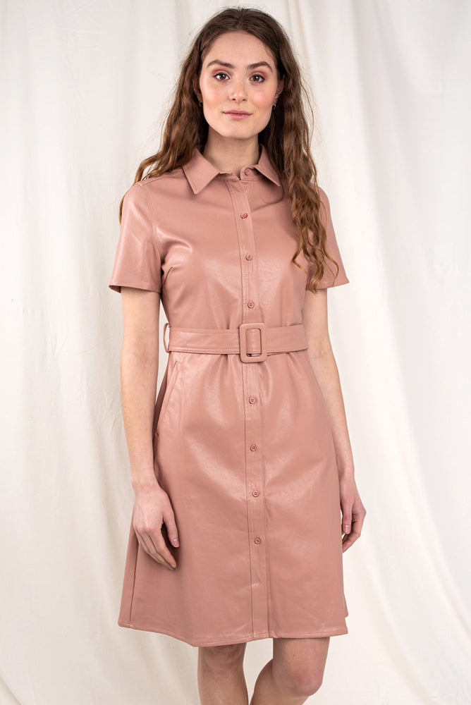 Rose Faux Leather Button-up Dress