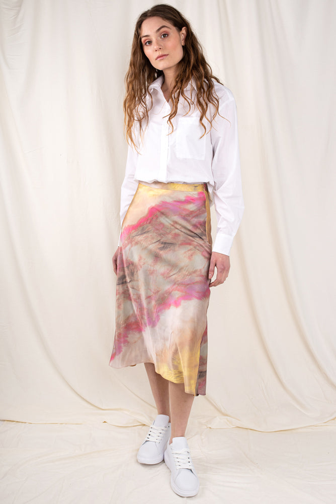 Ella Tie Dye Satin Bias Skirt