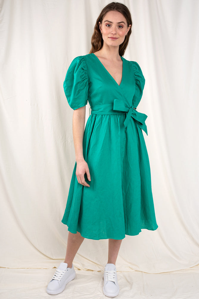 Effie Puff Sleeve Midi Dress