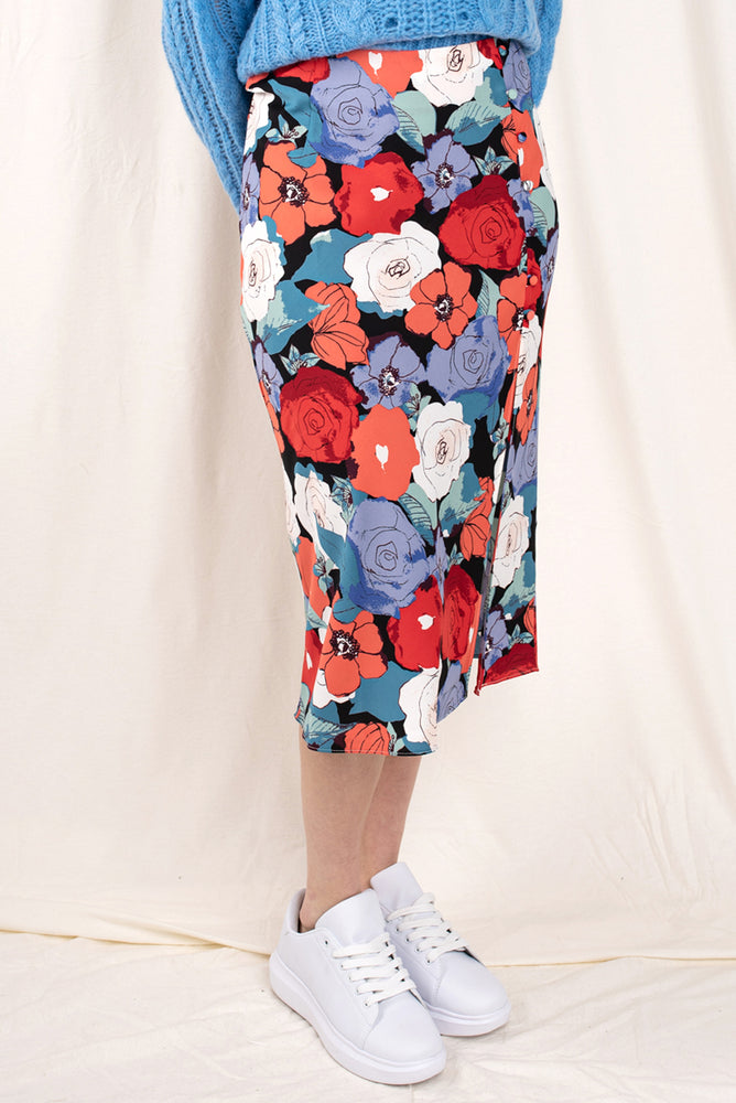 Dobby Midi Skirt with Side Split