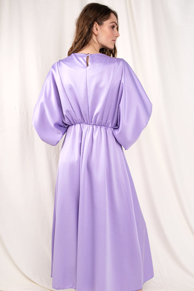 Brittany Lilac Satin Dress