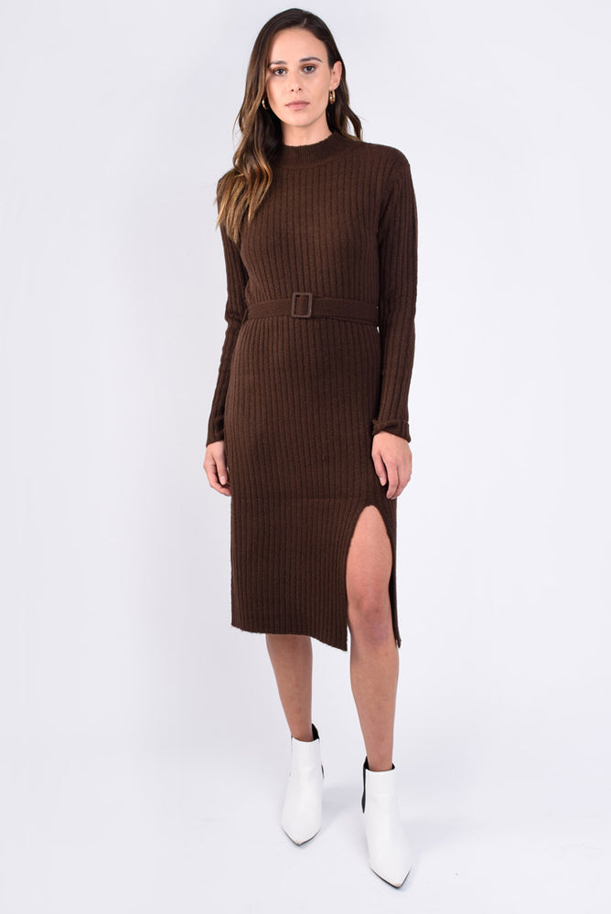 Belted Cocoa Knit Dress