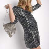 Silver Metallic Blazer Dress