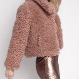 Short Blush Pink Teddy Coat