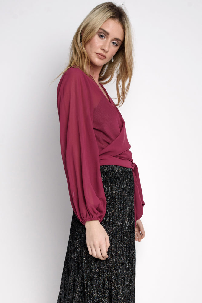 Crossover Wrap-tie Blouse