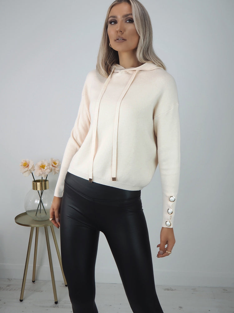 Ida White Hoodie with Pearl Sleeve Detail