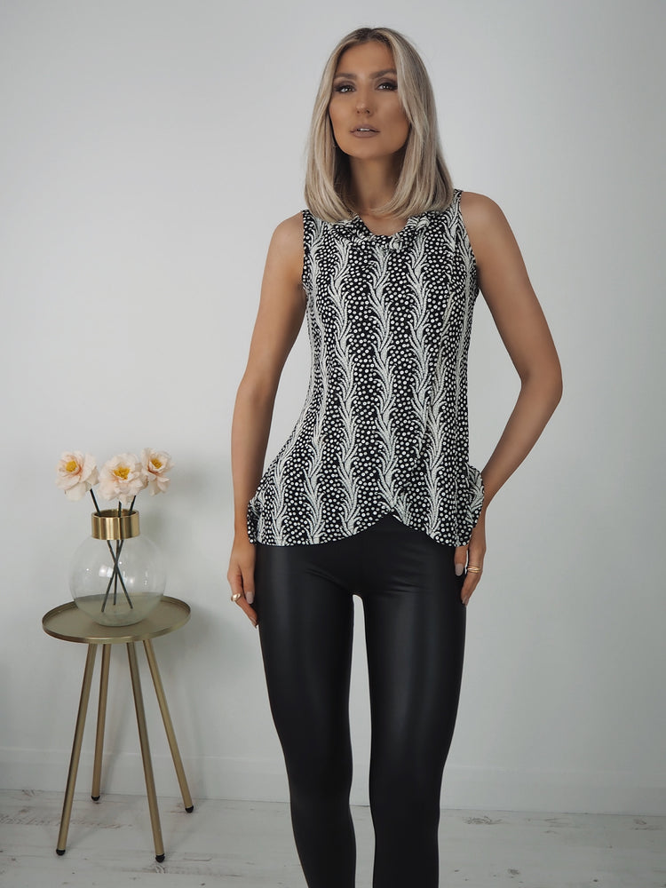 Laila Black and White print  Sleeveless Top