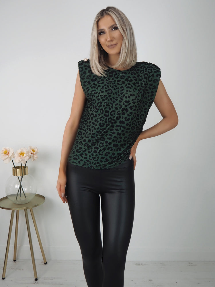 Camila Sleeveless Print Top - Green