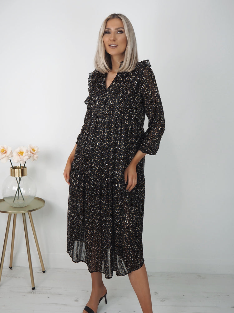 Alma Black Print Midi Dress