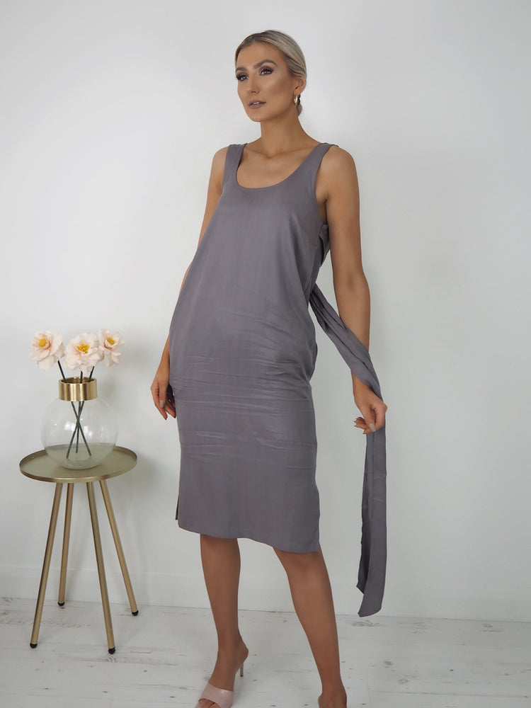 Grey Back Tie Dress