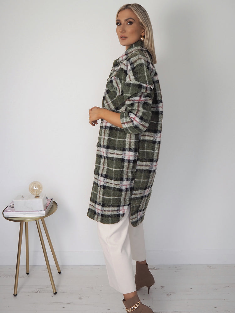 Bia Oversized Check Coat - Green