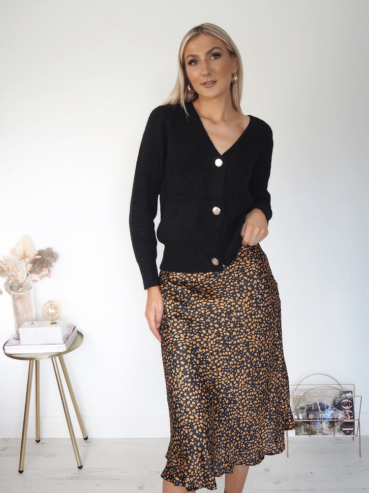 Olivia Animal Print Skirt - Black and Yellow