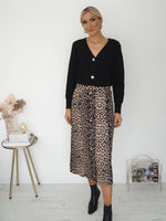 Riona Animal Print Skirt with Buttoms
