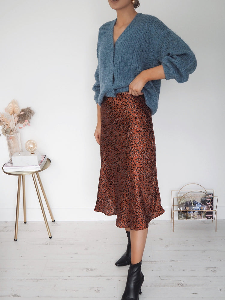 Olivia Animal Print Skirt - Brown