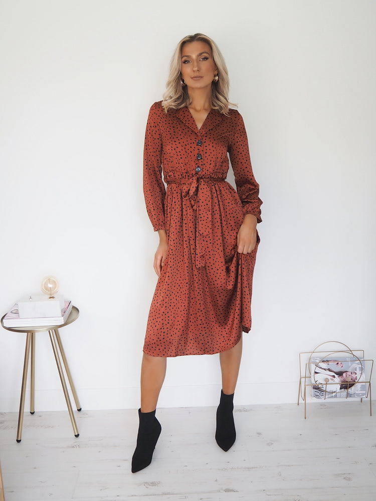 Charlotte Animal Print Dress - Rust
