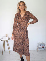 Abigail Leopard Print Dress - Brown
