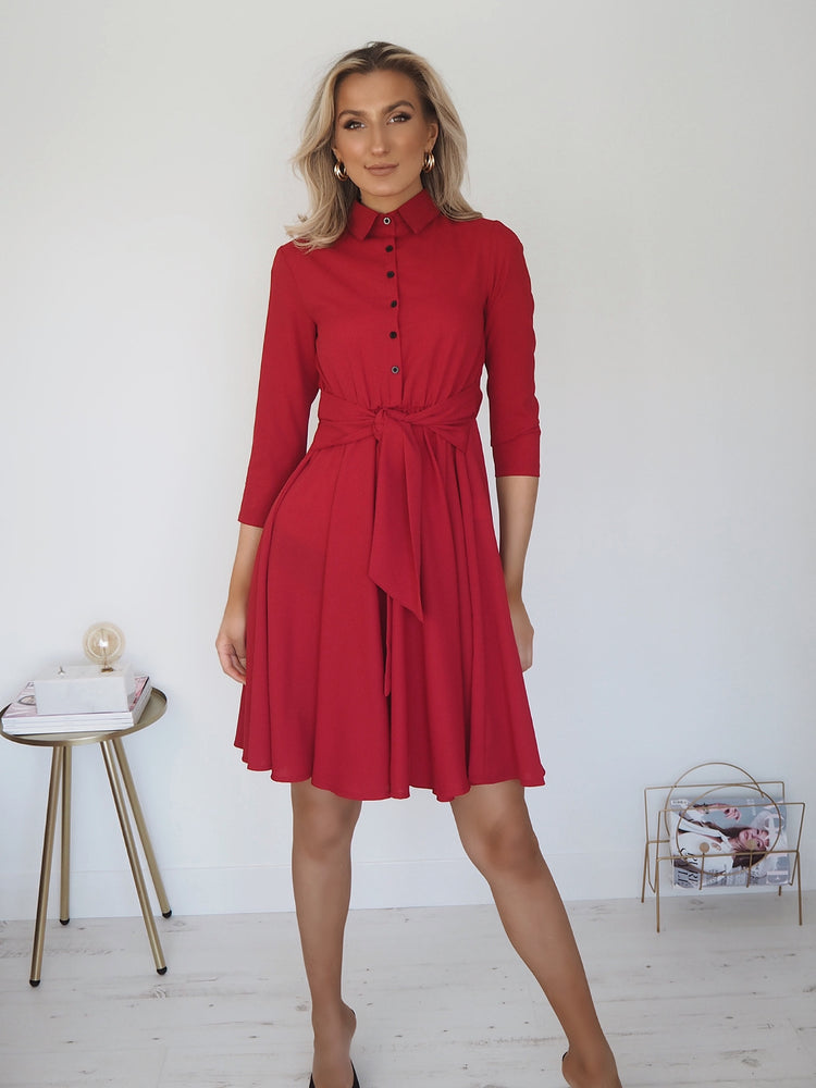 Nina Shirt Front Midi Dress - Red