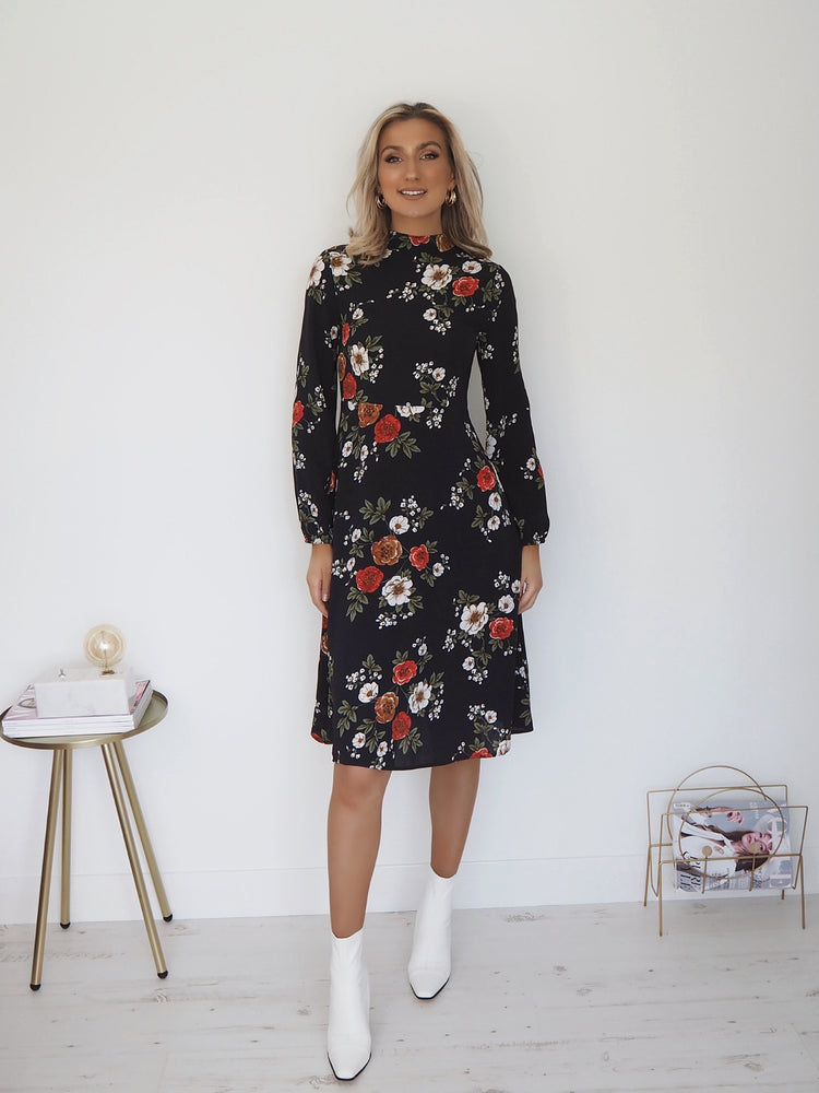 Sofia Navy and Red Floral Long Sleeve Midi Dress