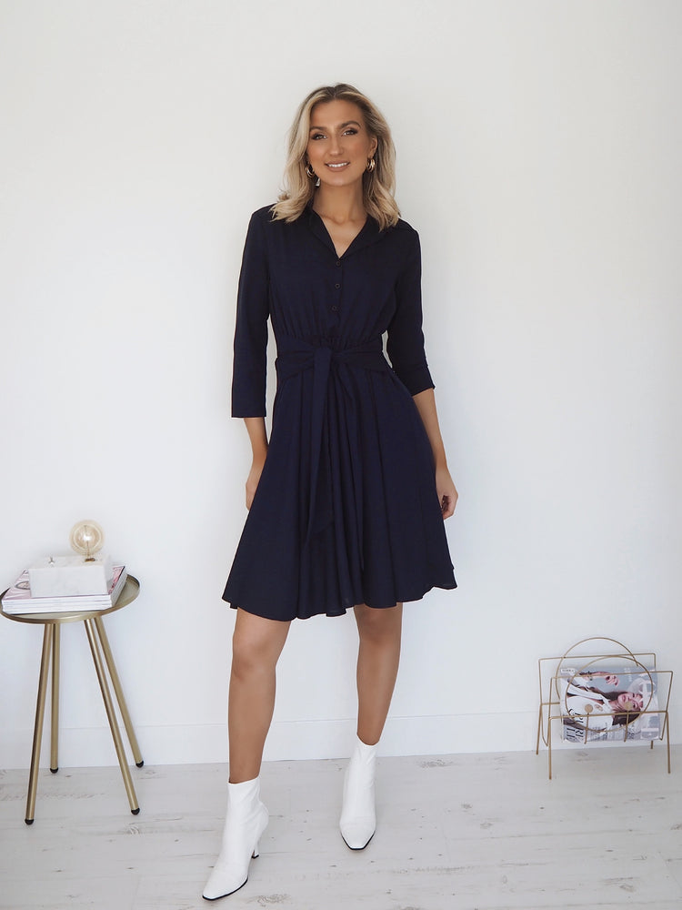 Nina Shirt Front Midi Dress - Navy
