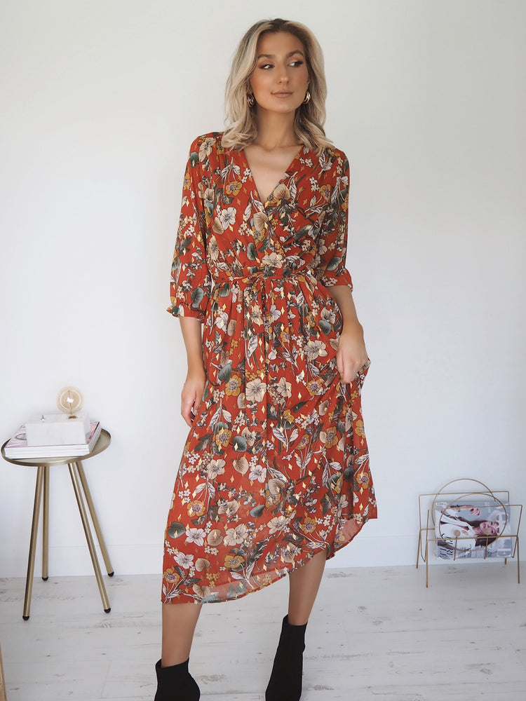 Sian Autumn Leaf Floral Midi Dress
