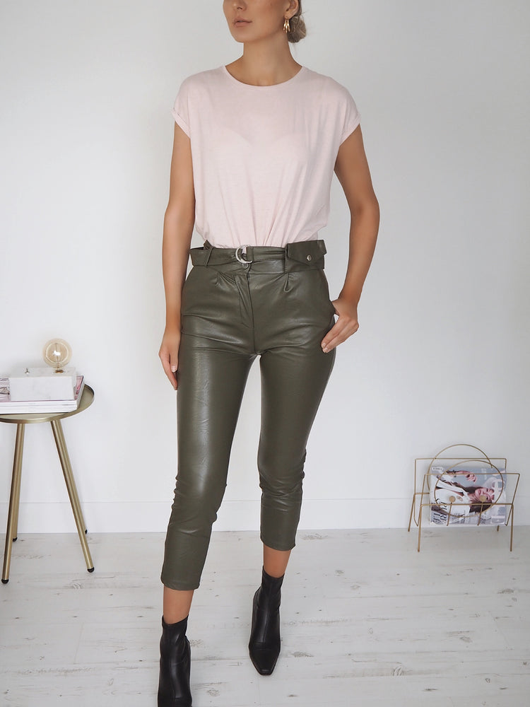 Faux Leather Belted Trousers - Khaki