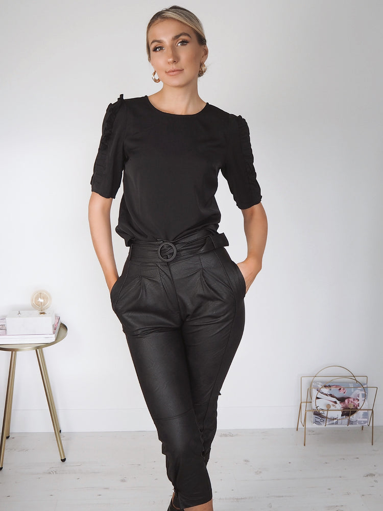 Faux Leather Belted Trousers - Black
