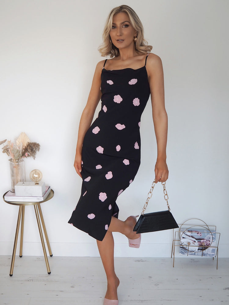 Lily Black Floral Satin Dress