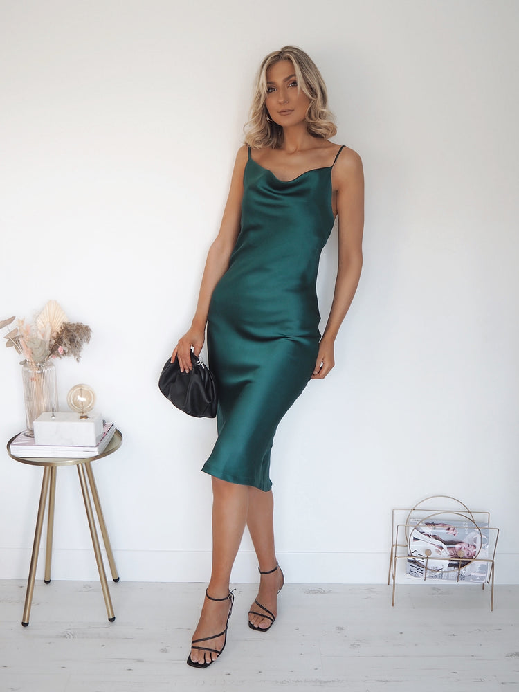 Emeralda Plain Satin Slip Dress - Emerald Green