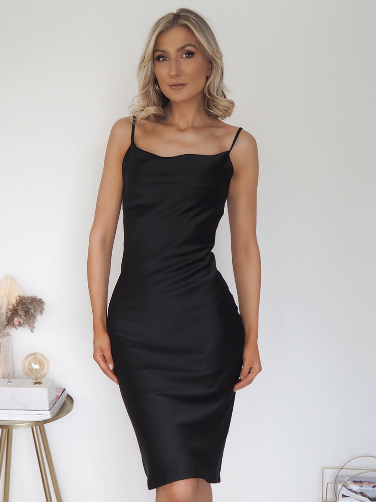 Black Plain Satin Slip Dress