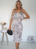Leopard Satin Slip Dress