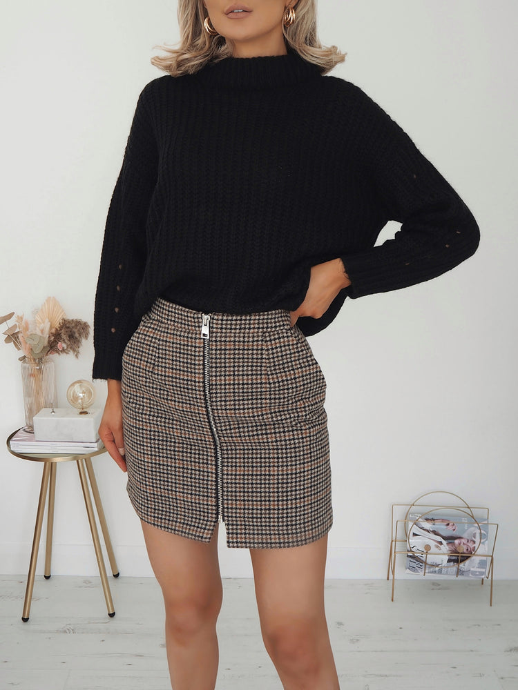 Alana Checkered Zipper Mini Skirt