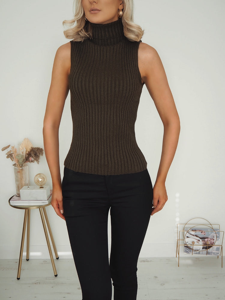 Lara Ribbed Top - Dark Brown