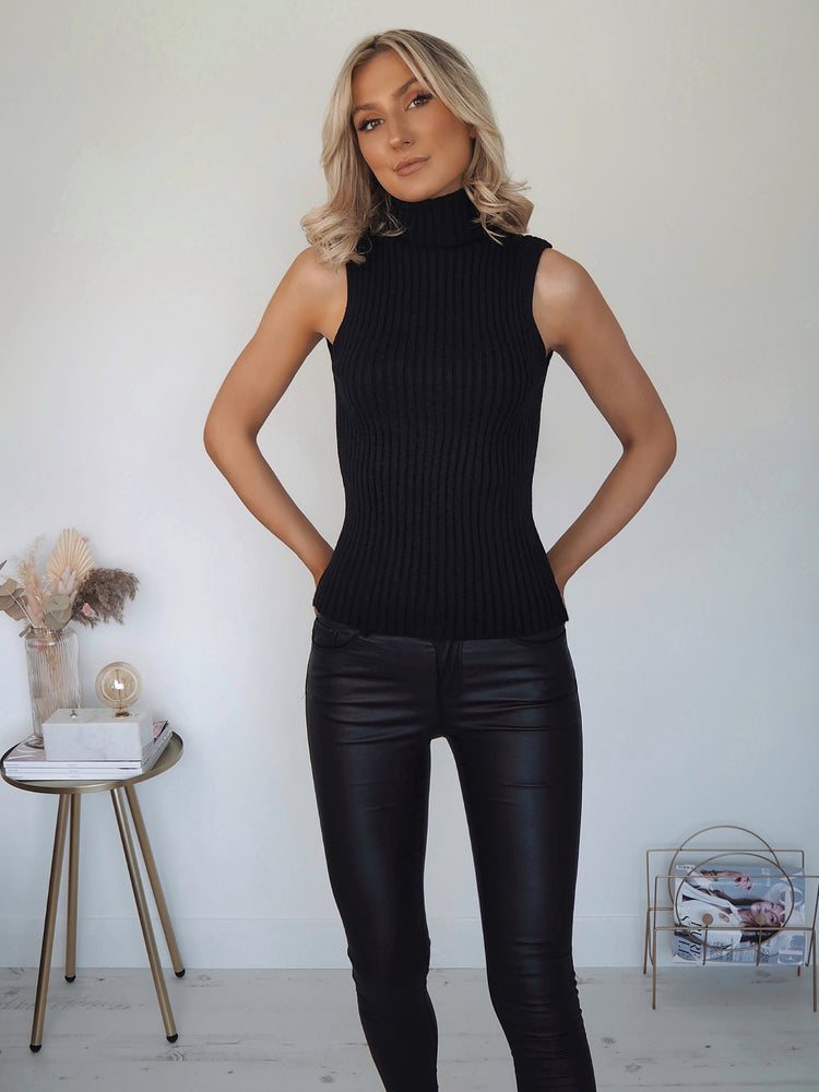 Lara Ribbed Top - Black