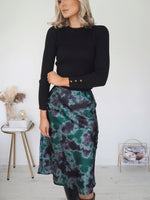 Sophia Printed Satin Skirt - Green