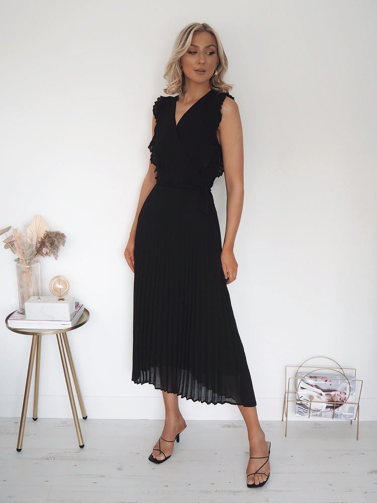 Maura Black Frill Sleeve Dress