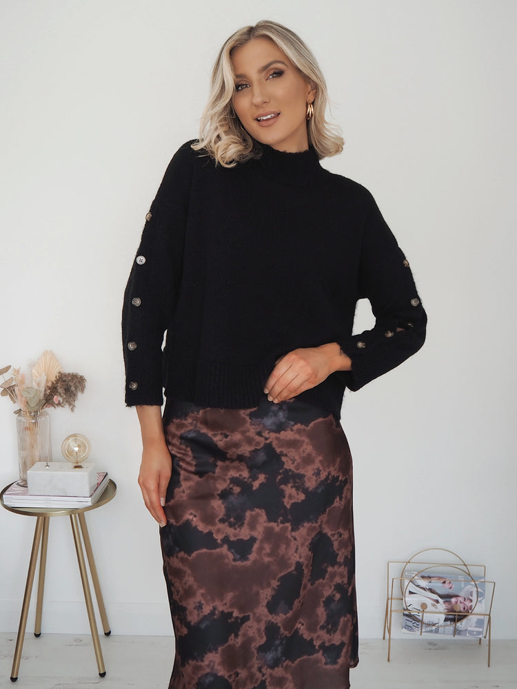 Sophia Printed Satin Skirt - Brown