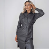Grey Faux Leather Belted Dress