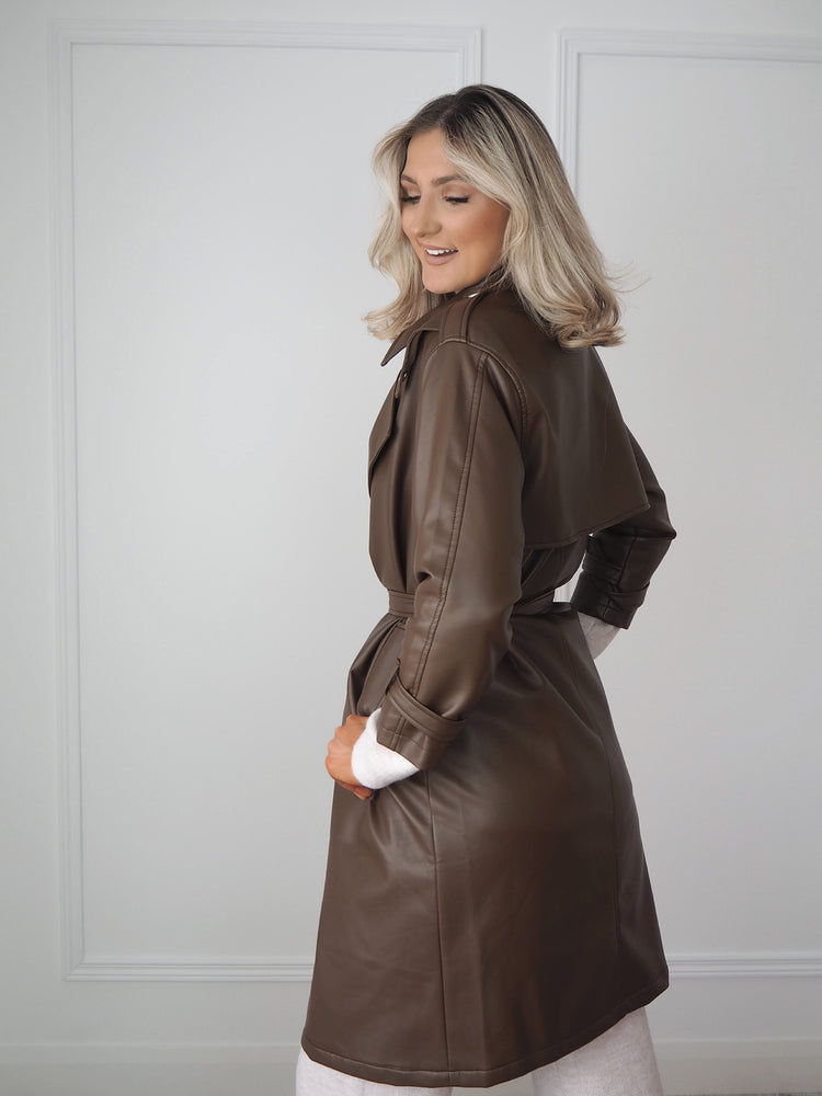 Brown Faux Leather Trench Coat