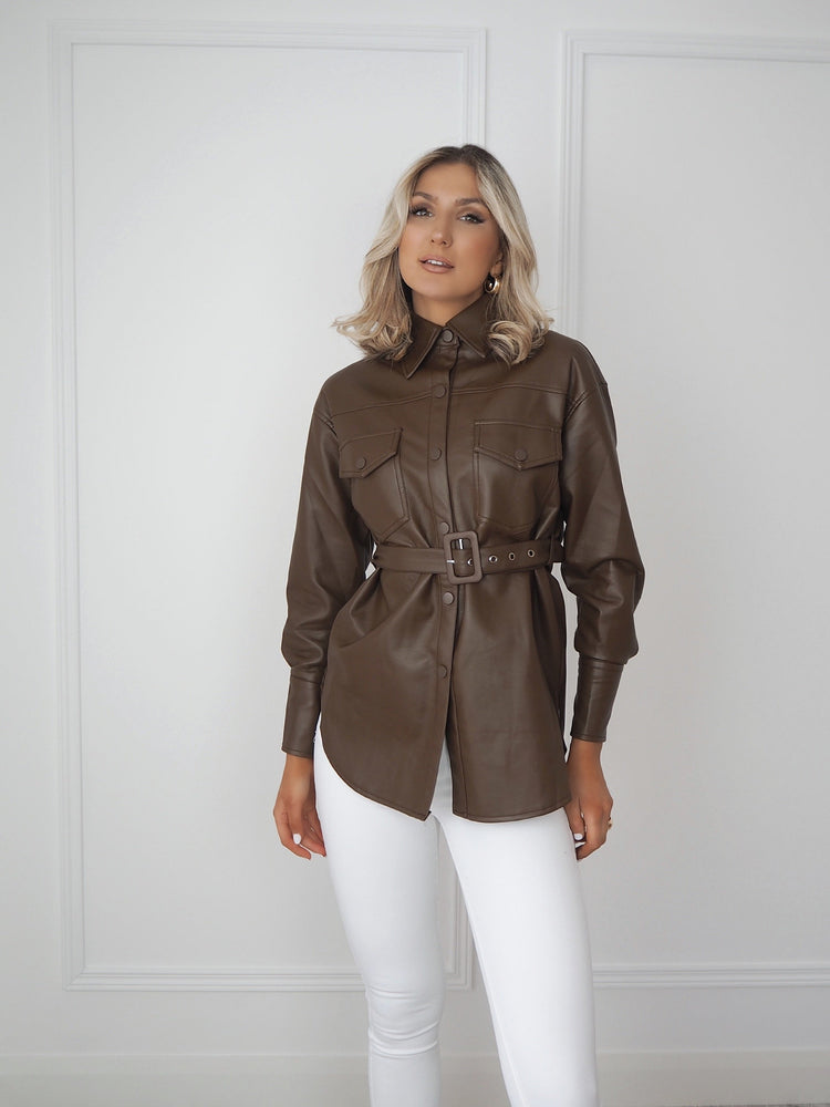 Brown Faux Leather Belted Shirt