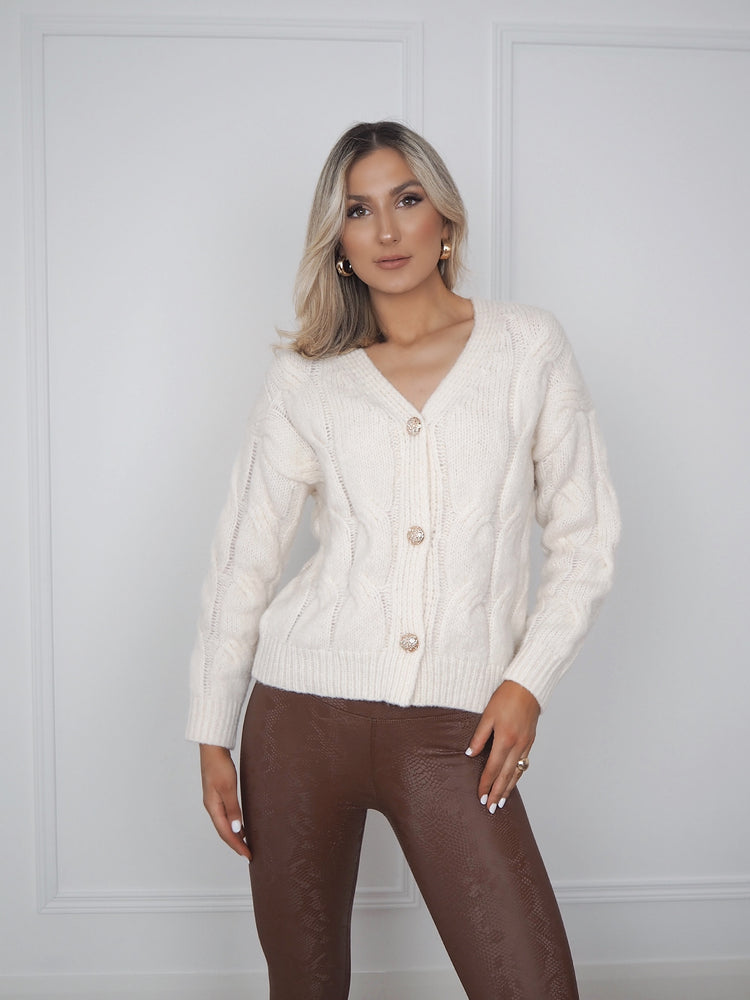 Beige Cardigan with Gold Button Detail