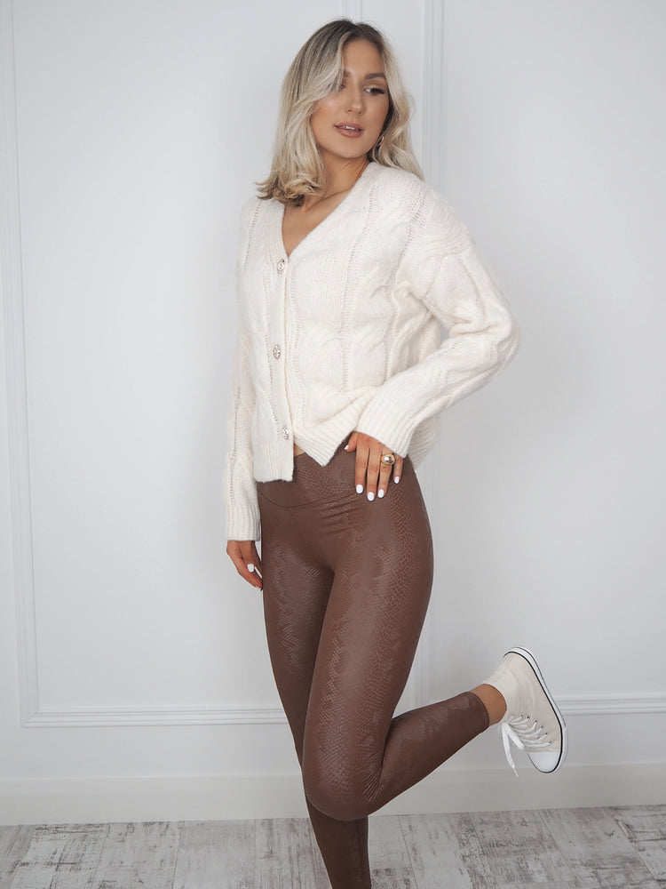 Brown Croc Print Leggings