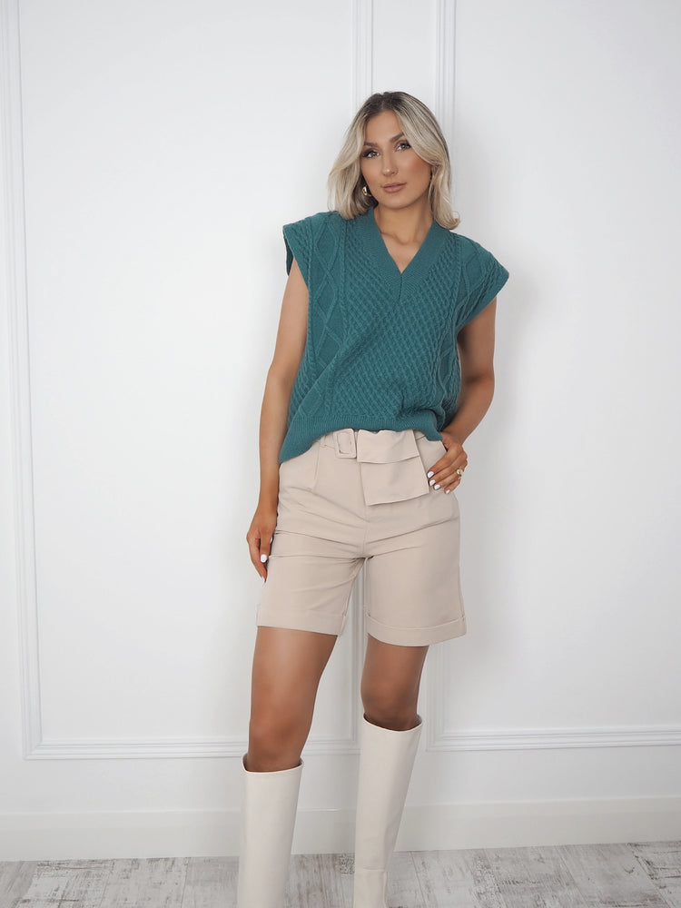 Chrissy Beige Belted Shorts