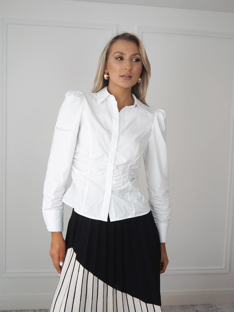 White Shirt with Ruched Waist Detail