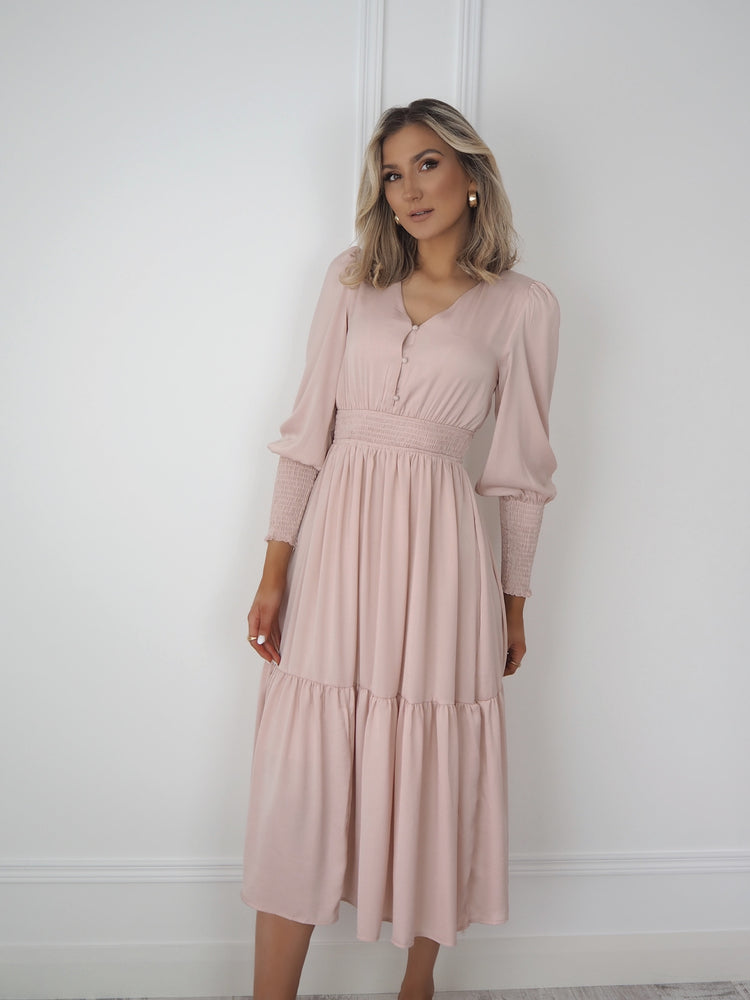 Pink Button Up Midi Dress