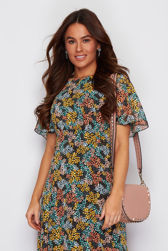 Cassie Angel Sleeve Midi Dress