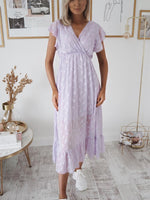 Jess V-neck Lilac Midi Dress