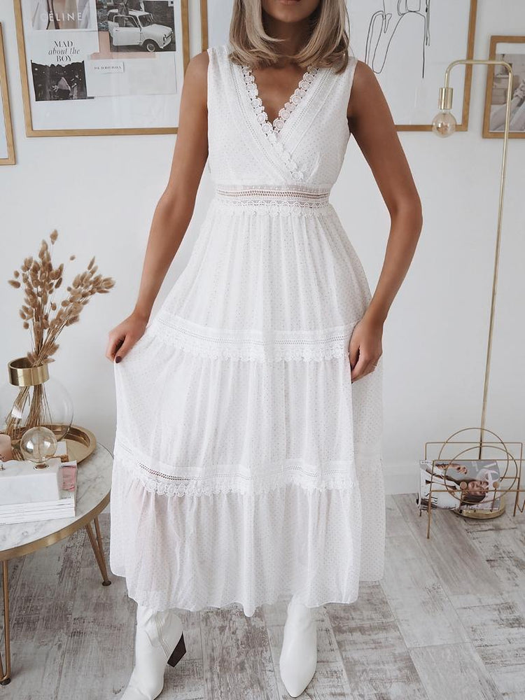 Gracie White Lace Midi Dress