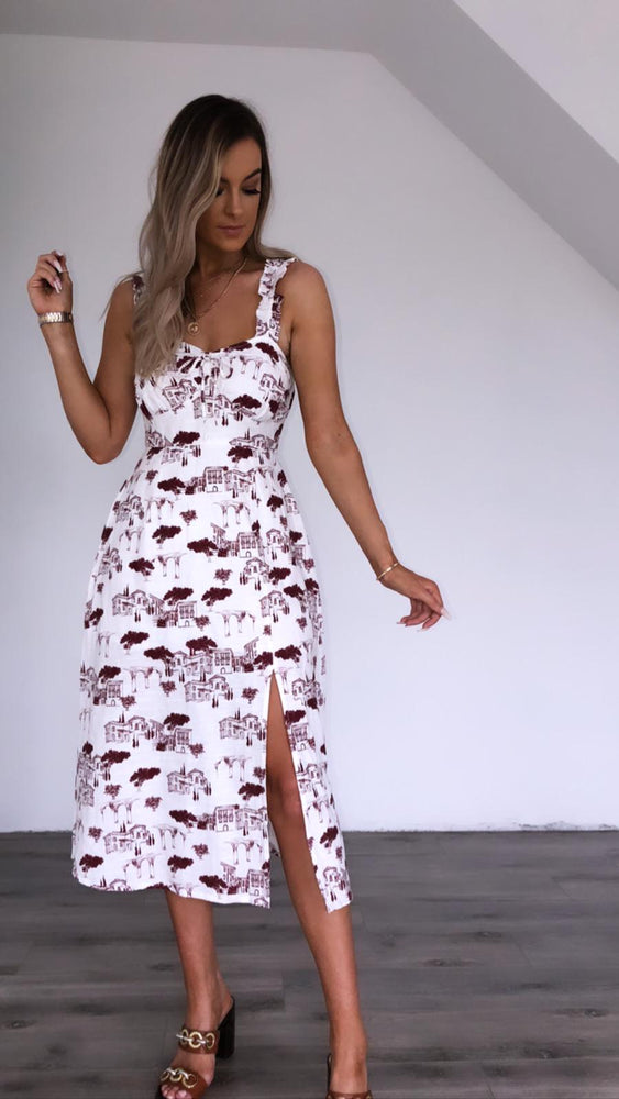 Sarina white print dress