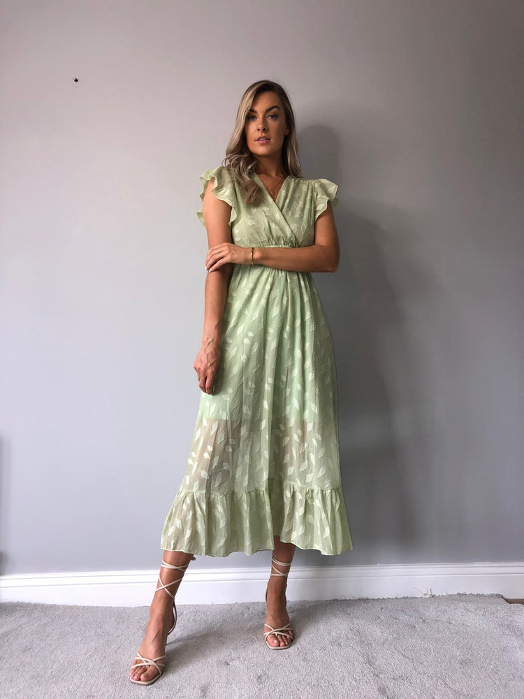 Jess V-neck Mint Midi Dress